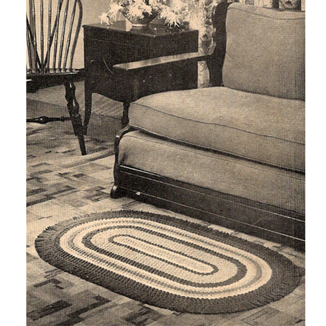 Vintage Oval Crochet Rug Pattern in three colors