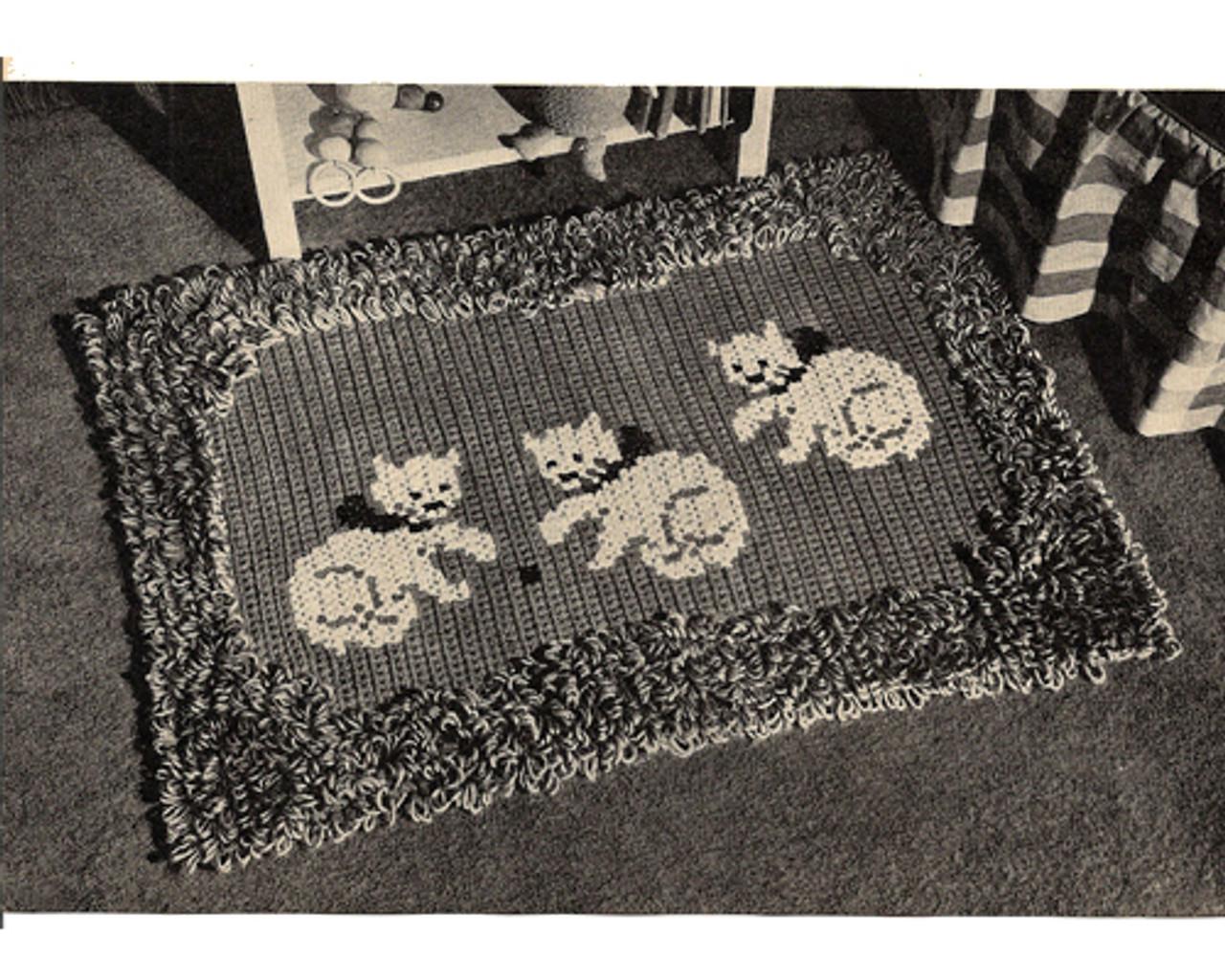 Vintage Kitten Crochet Rug Pattern in Loop Stitch