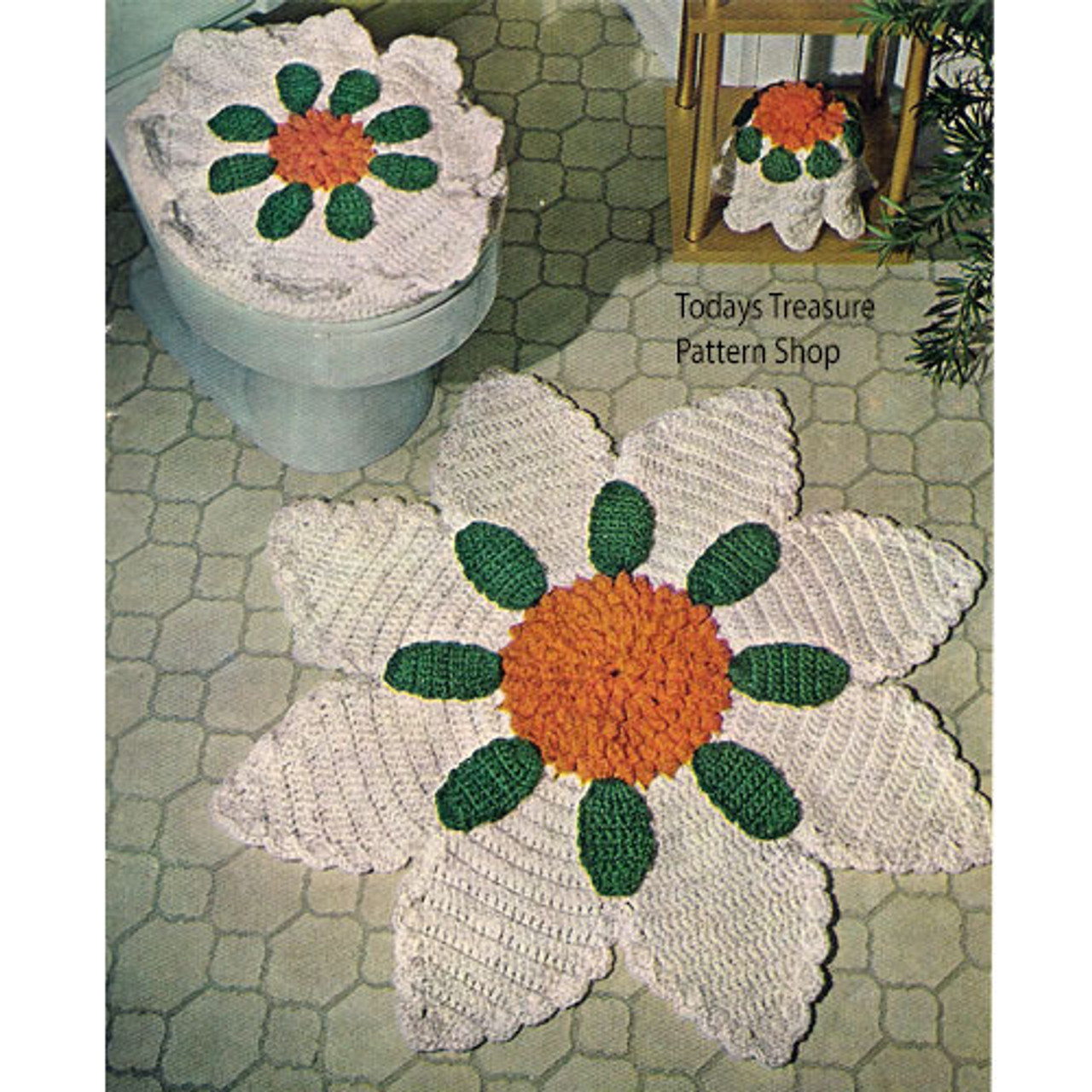 Vintage Flower Crochet Bathroom Rug Pattern