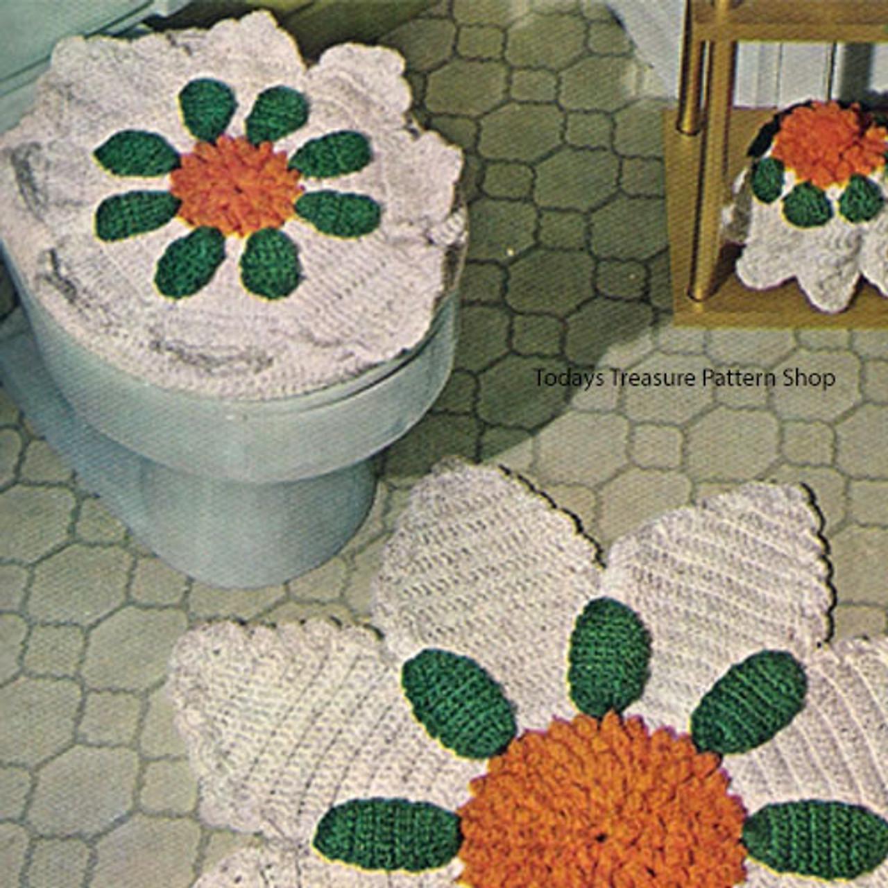 Daisy Flower Crochet Toilet Seat Cover