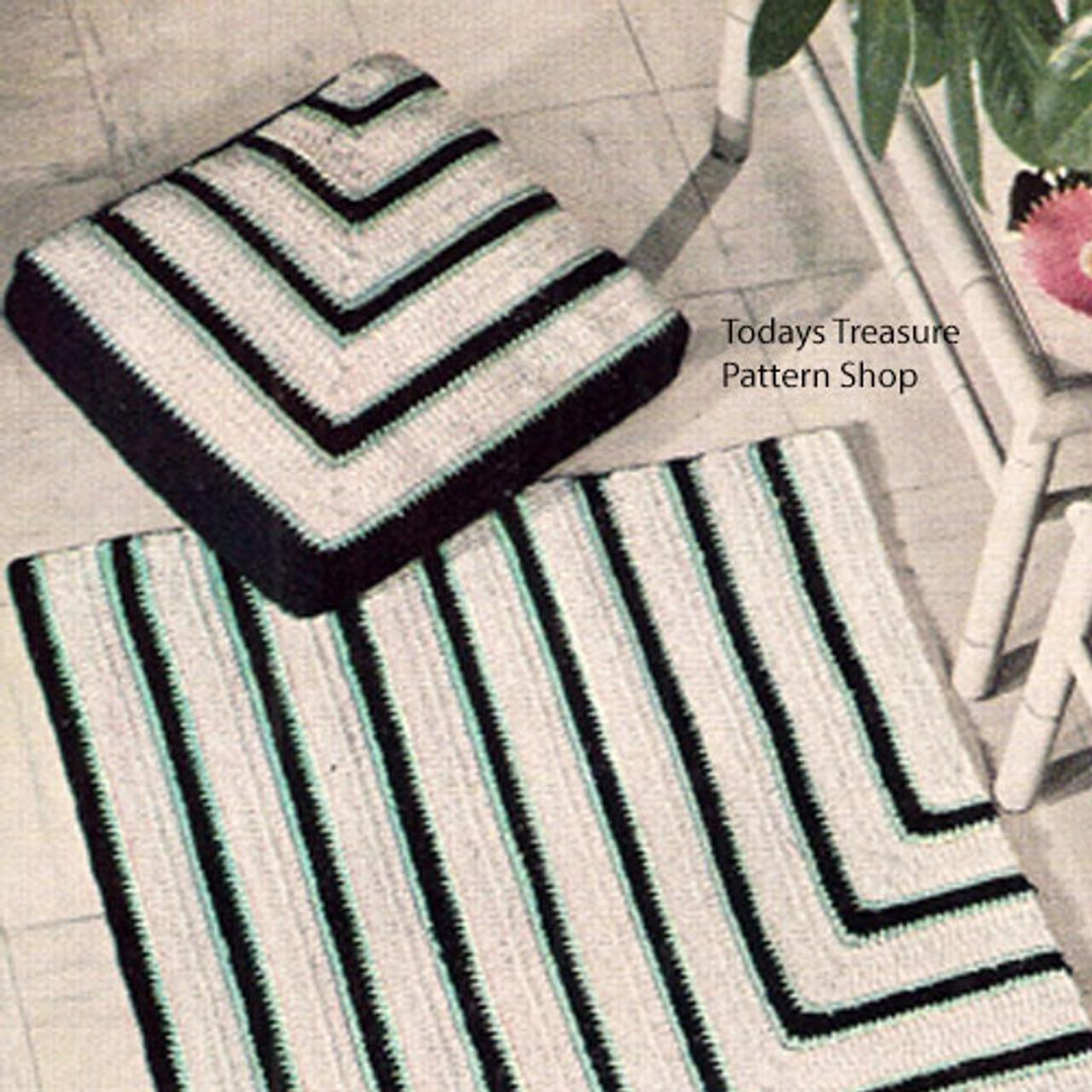 Crochet Geometric Stripe Rug Pillow PDF Pattern