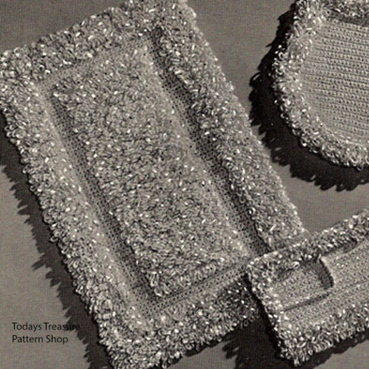 Loop Stitch Crochet Bathroom Rug Pattern Set