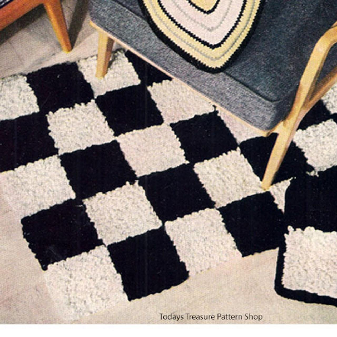 Black & White Checkerboard Rug pattern, Vintage 1950s