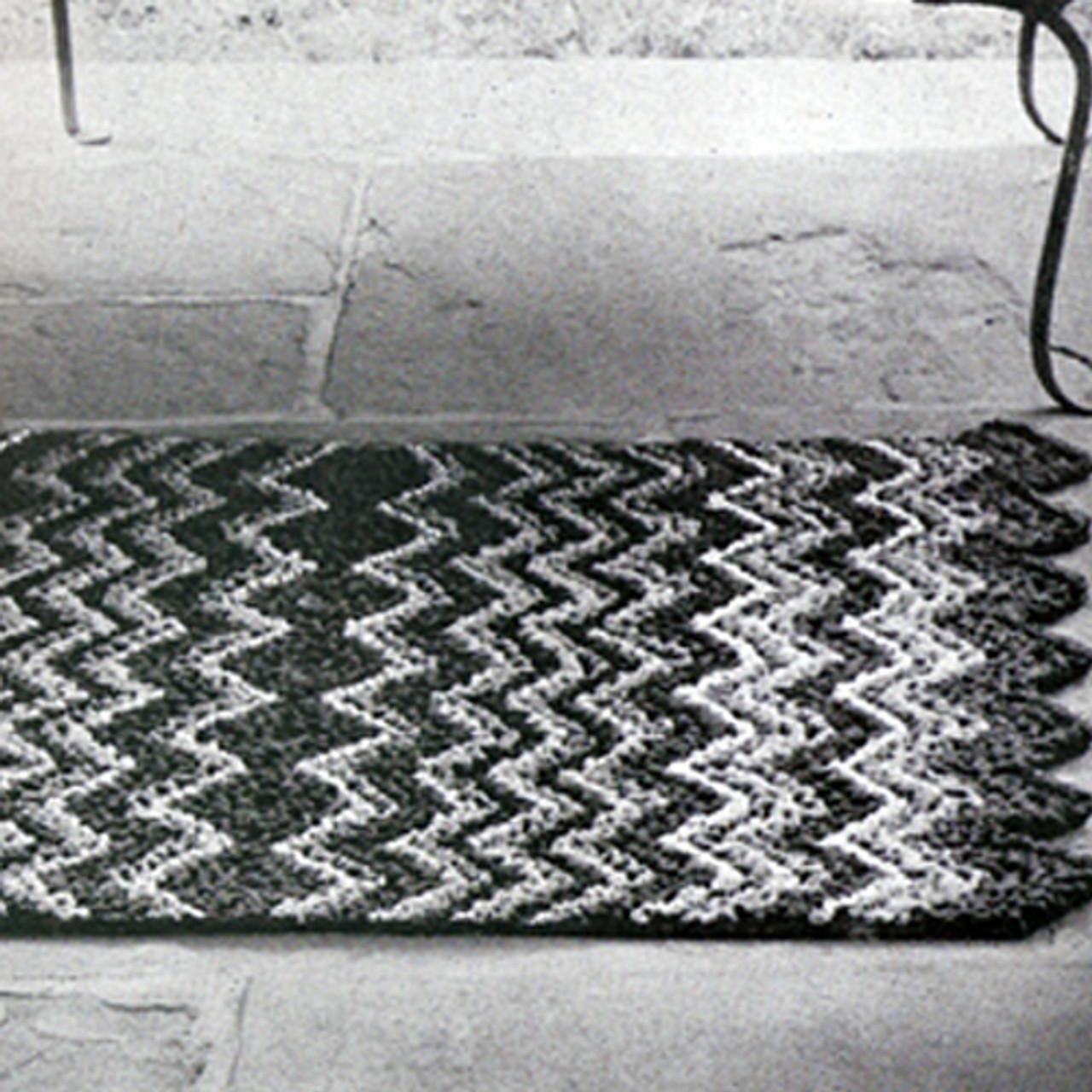 Wavecrest Crocheted Rug Pattern, Vintage 1950s