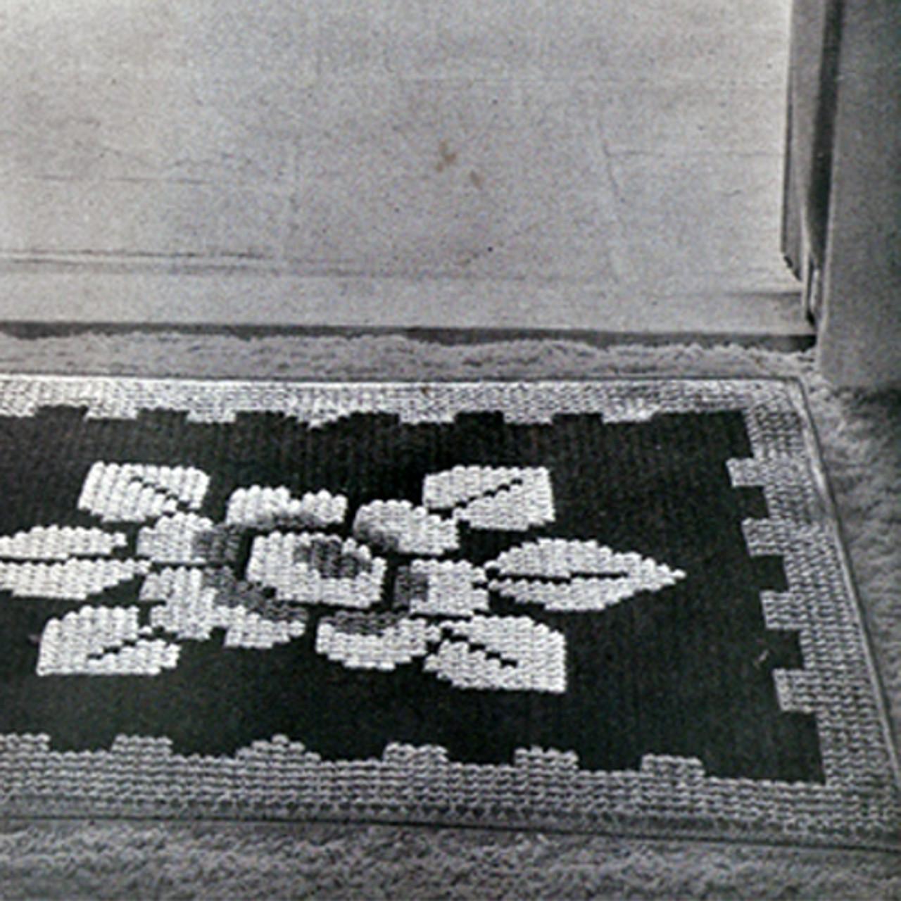 Crochet Flower Area Rug pattern, Vintage 1940s