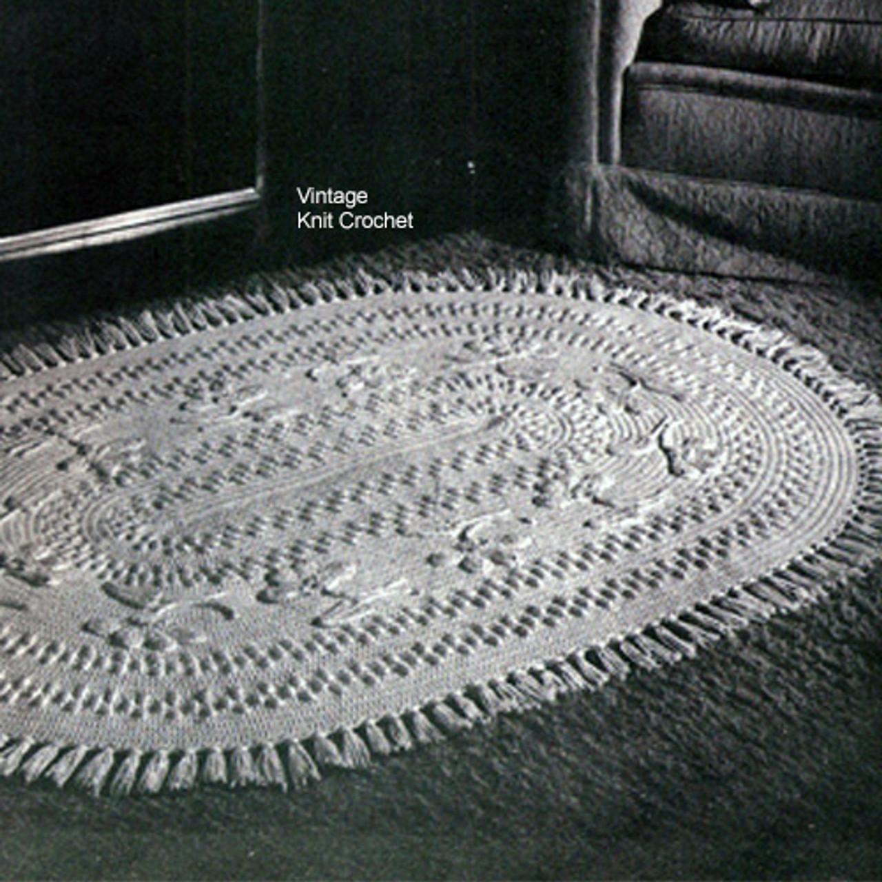Crochet Oval Rug Pattern, Flowers in Popcorn Stitch
