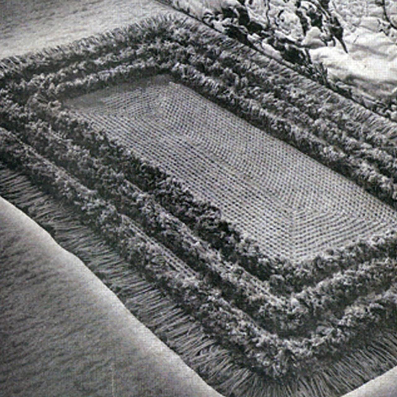 Tufted Border Crochet Rug pattern, vintage 1940s