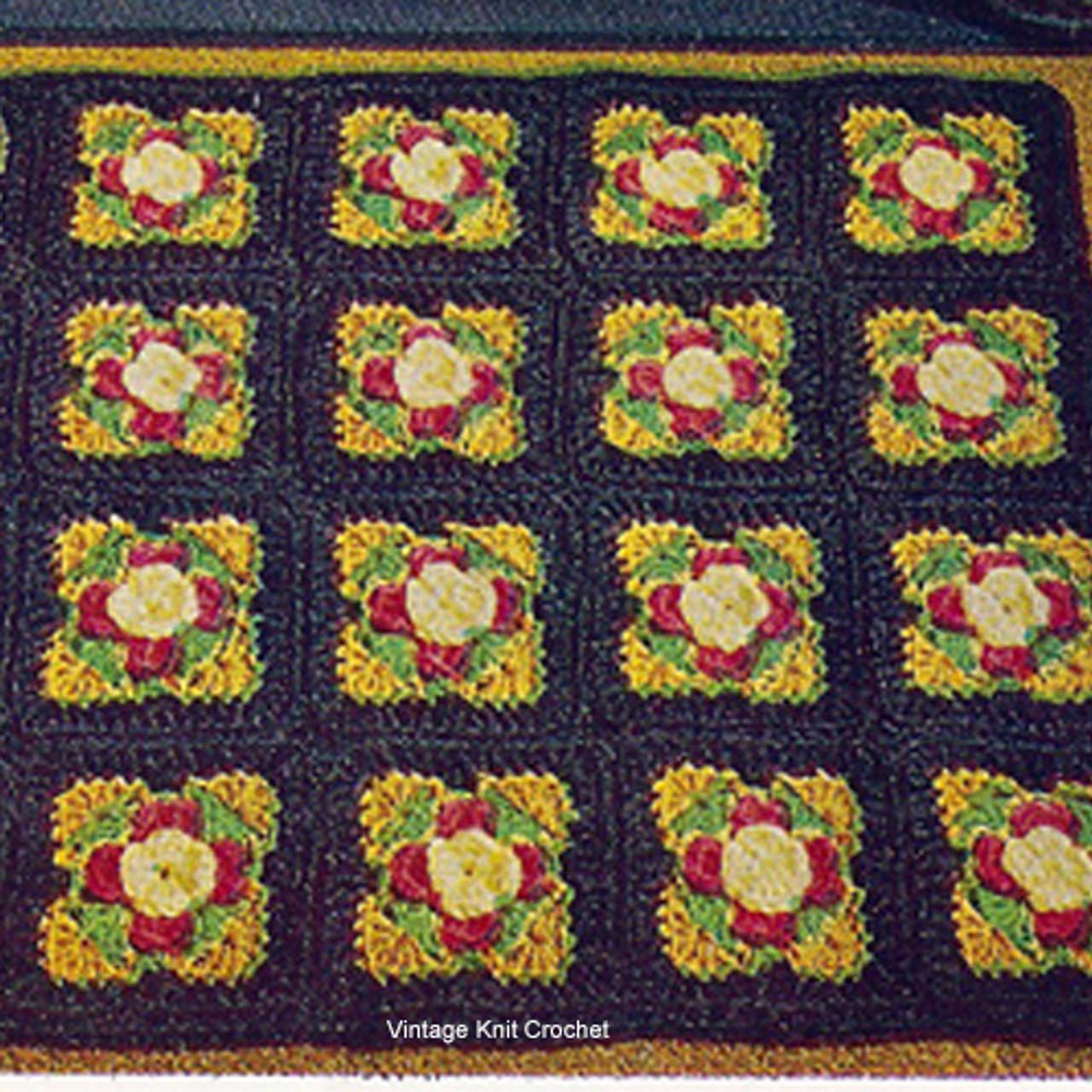 Easy Crochet Rug Pattern in 6-1/4 inch blocks