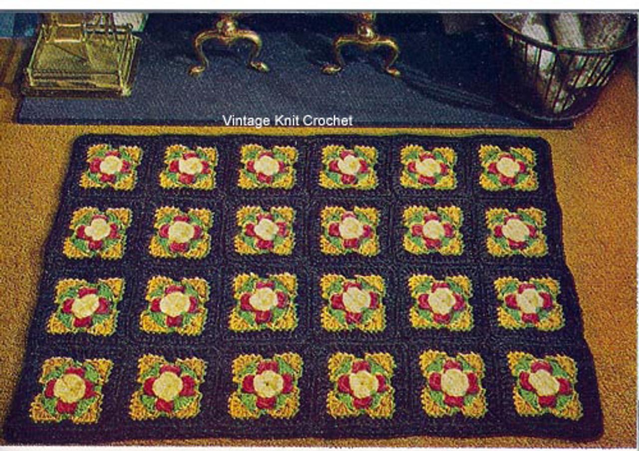 Crochet Area Rug Pattern in Rose Blocks