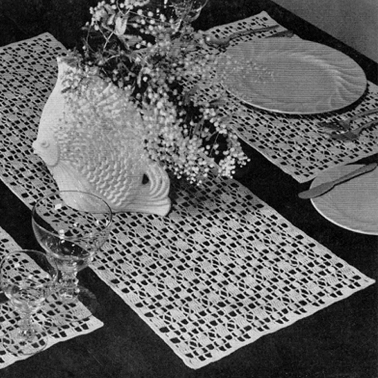 Crochet American Runner Mats Pattern, Vintage 1950s