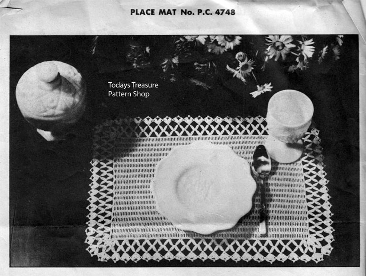 Lattice Mats Crochet pattern, Vintage 1940s