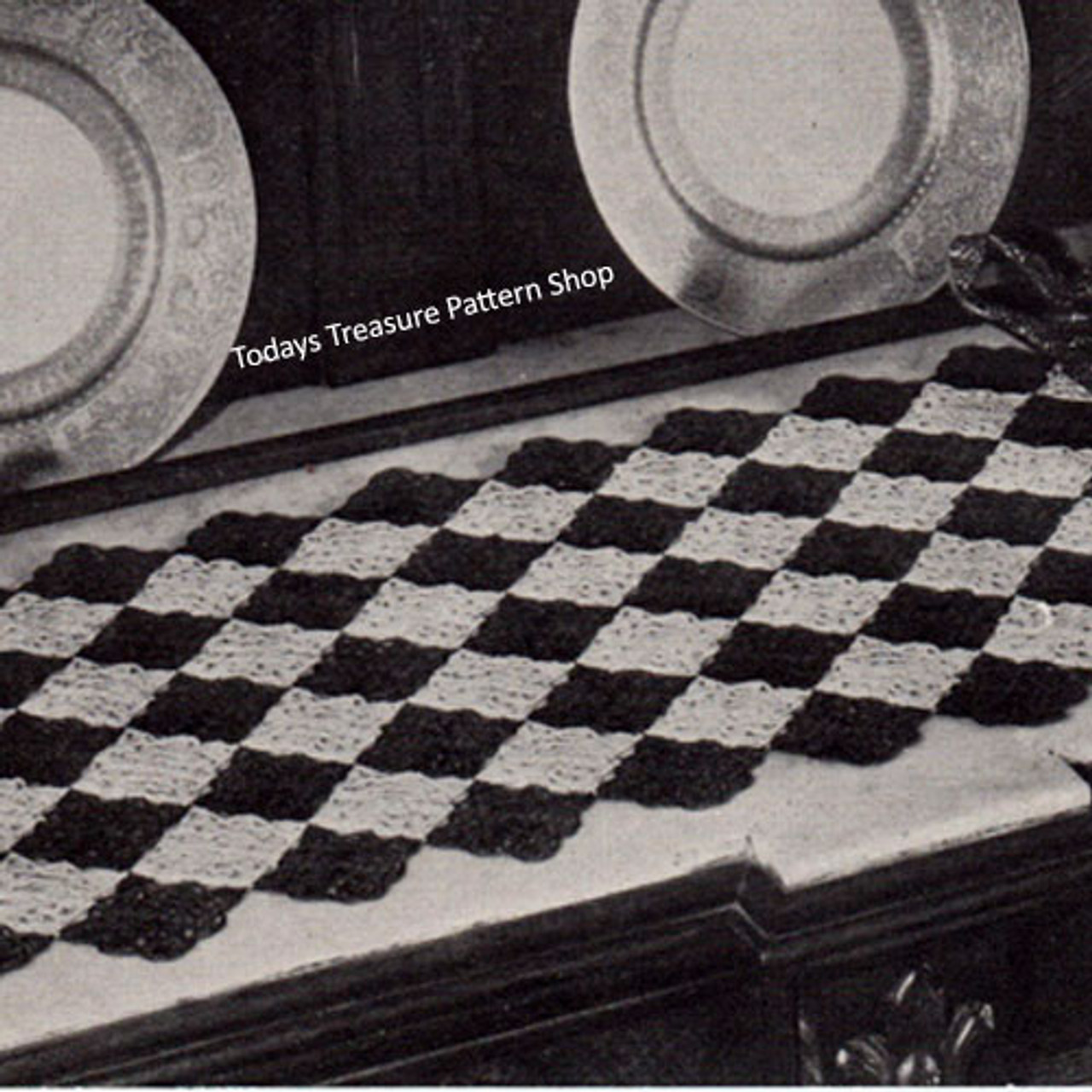 Crochet Runner Pattern Diamond Motif Scarf