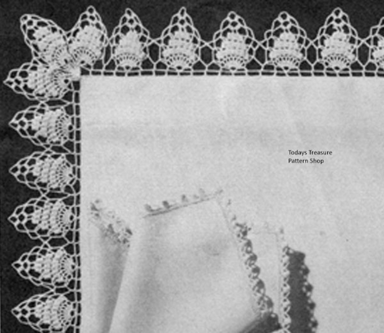 Vintage Crocheted Edging pattern in Pineapple Stitch