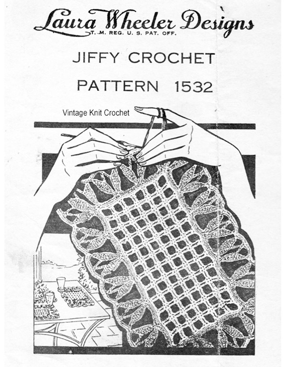 Vintage Mesh Crocheted Placemats Pattern No 1532