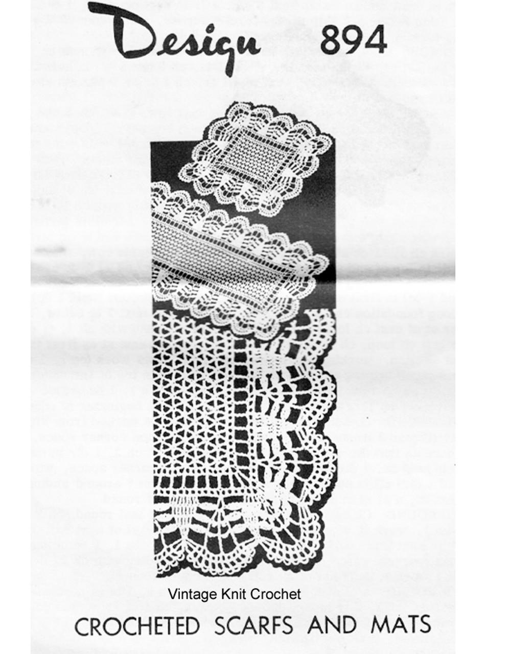 Vintage Crochet Luncheon Set Pattern, Mail Order Design 894