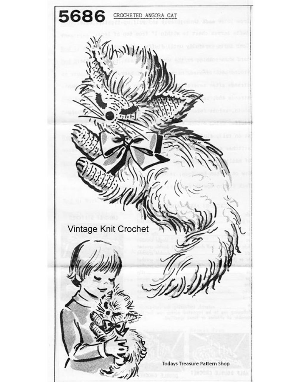 Crocheted Cat, Stuffed Animal Pattern No 5686