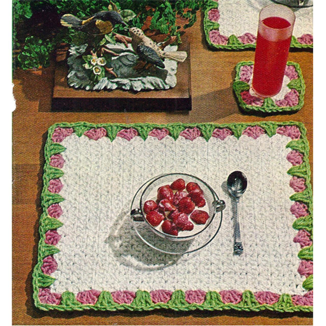 Crochet Crochet Mats Pattern with Floral Border