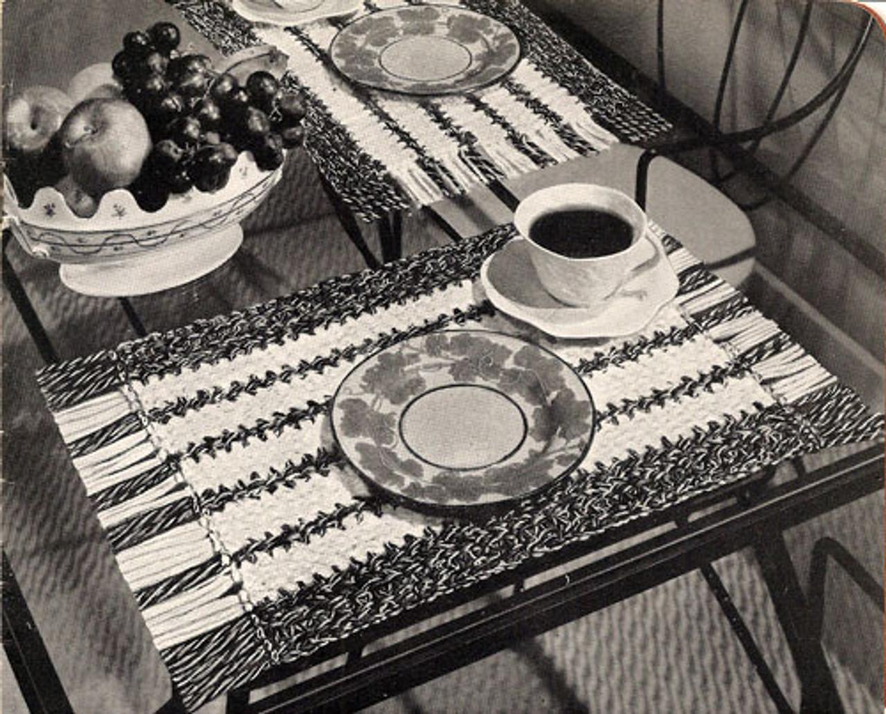 Crochet Mats Pattern with Woven Stripes