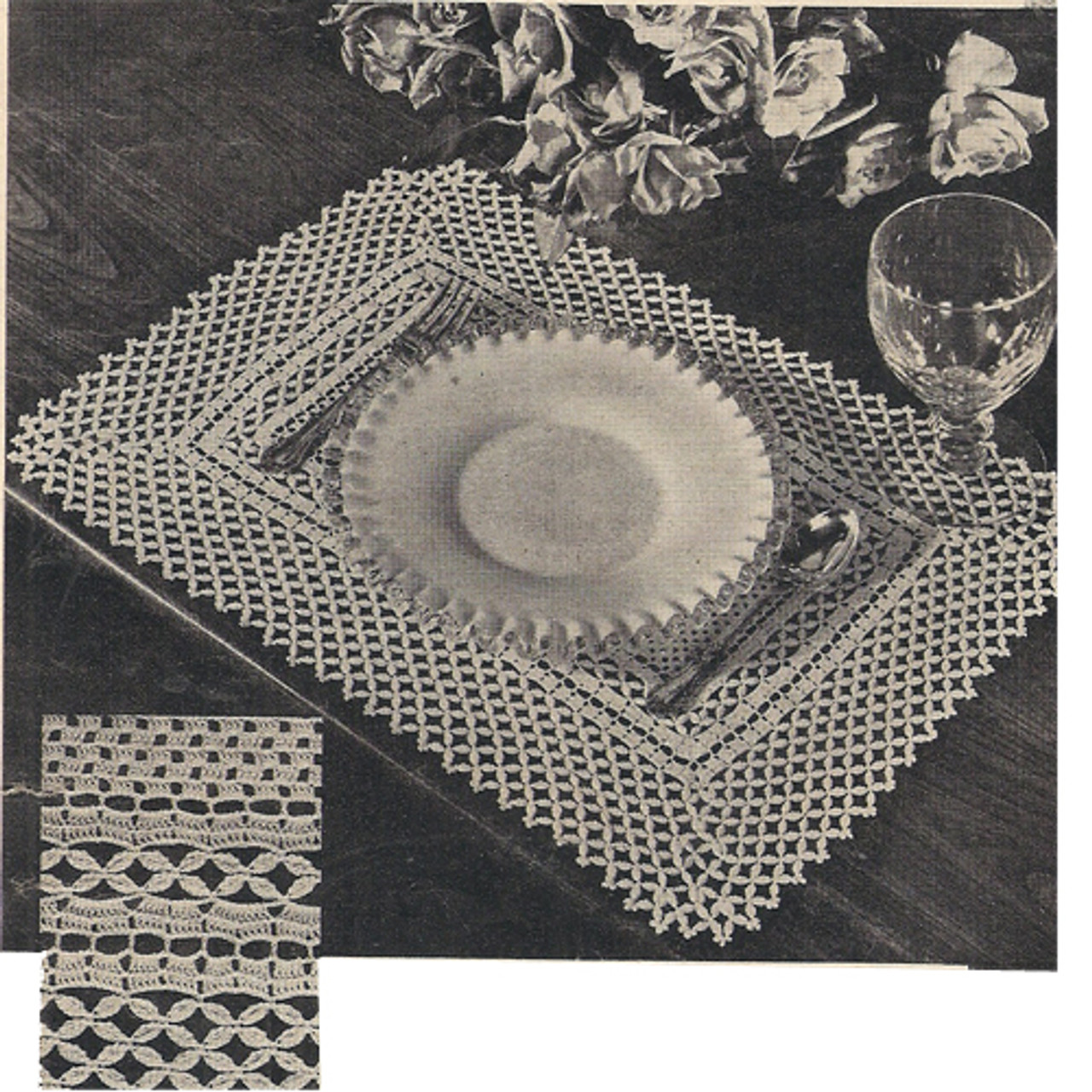Crochet Honeycomb Lace Luncheon Set Pattern