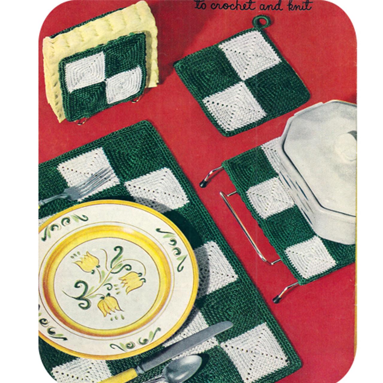 Easy Checkerboard Crochet Luncheon Set