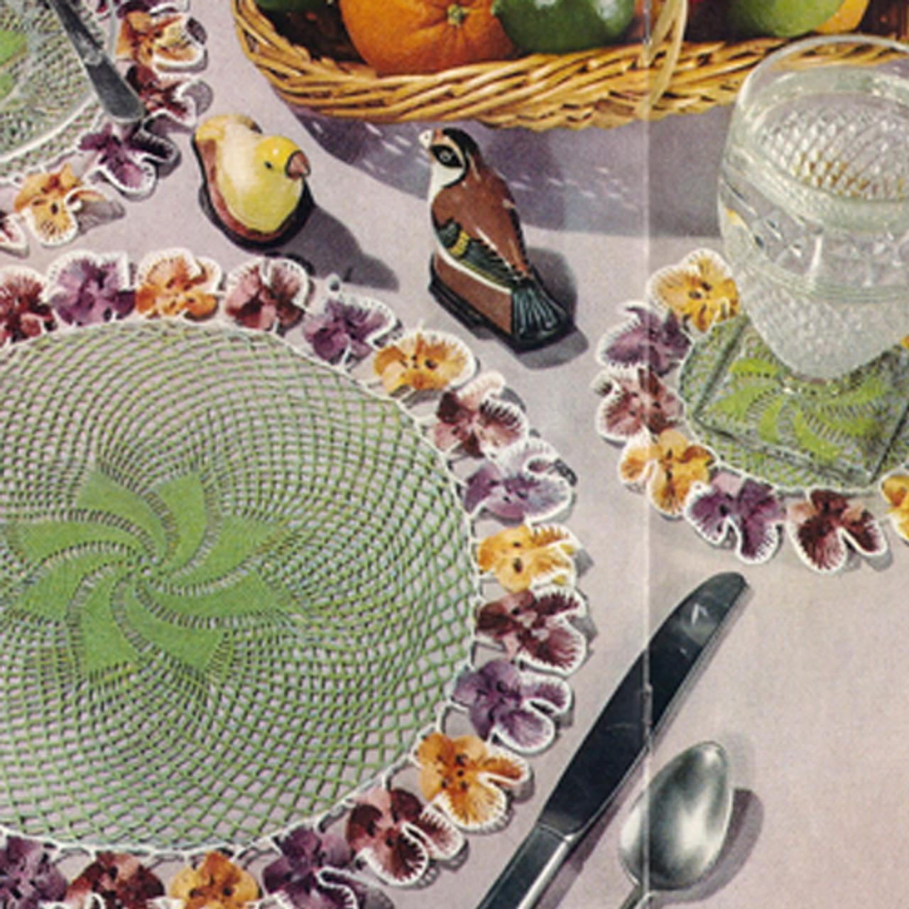 Vintage Crochet Pattern Pansy Mats