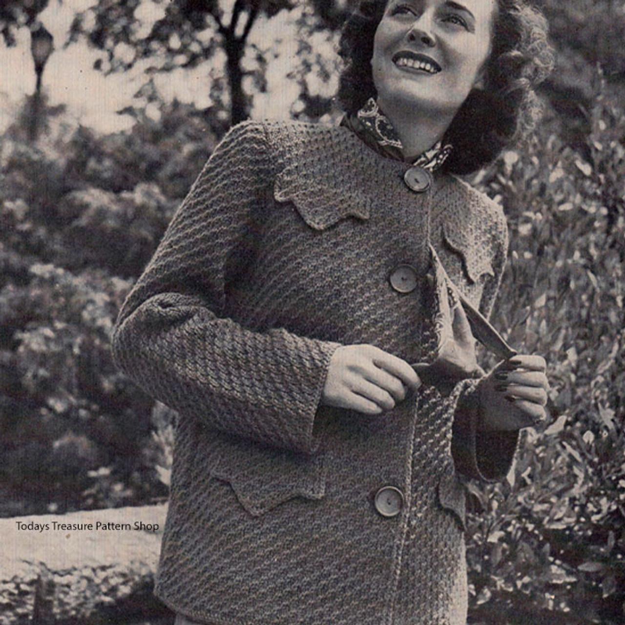 Vintage Knit Hip Length Coat Pattern