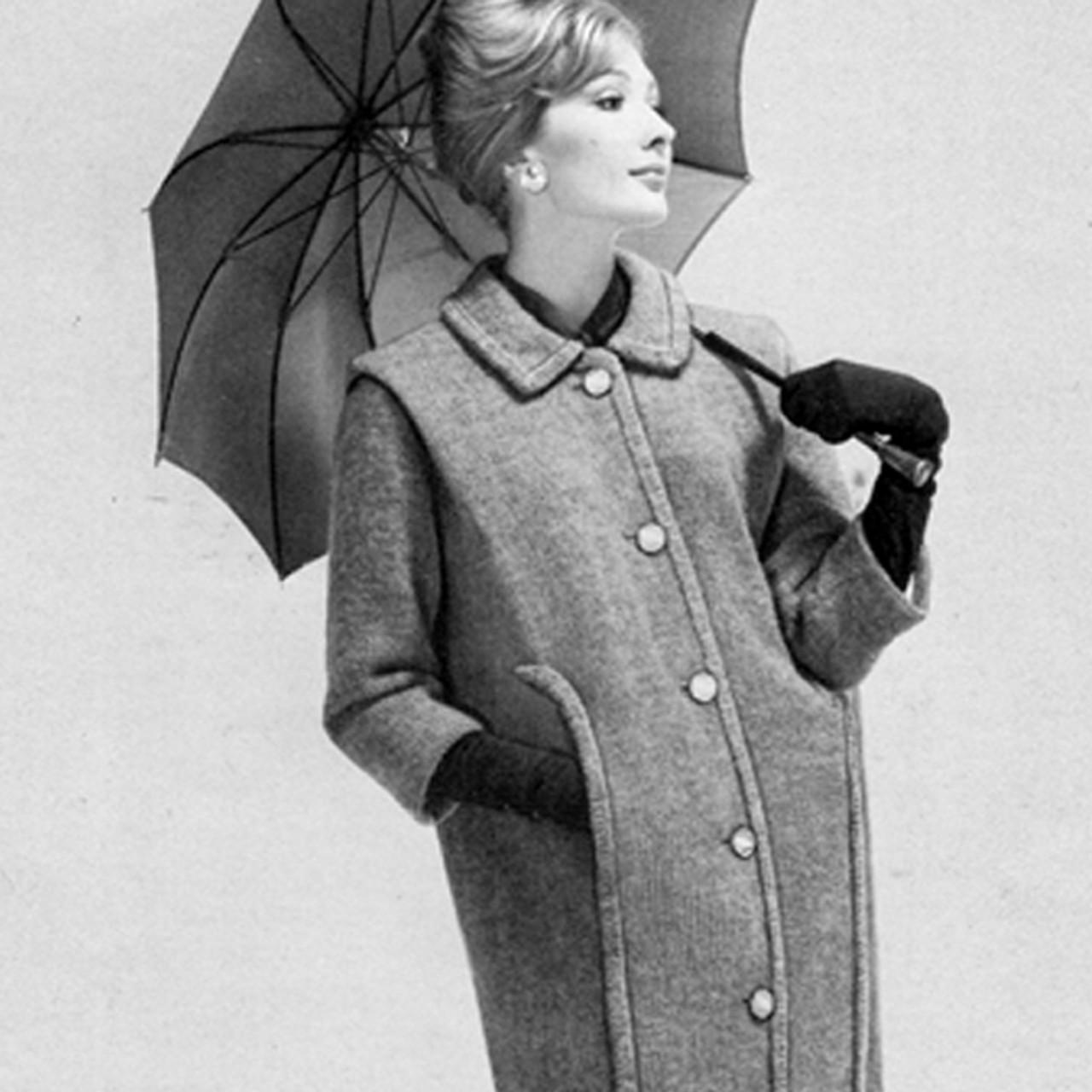Knitted Panel Coat Pattern, Knee Length