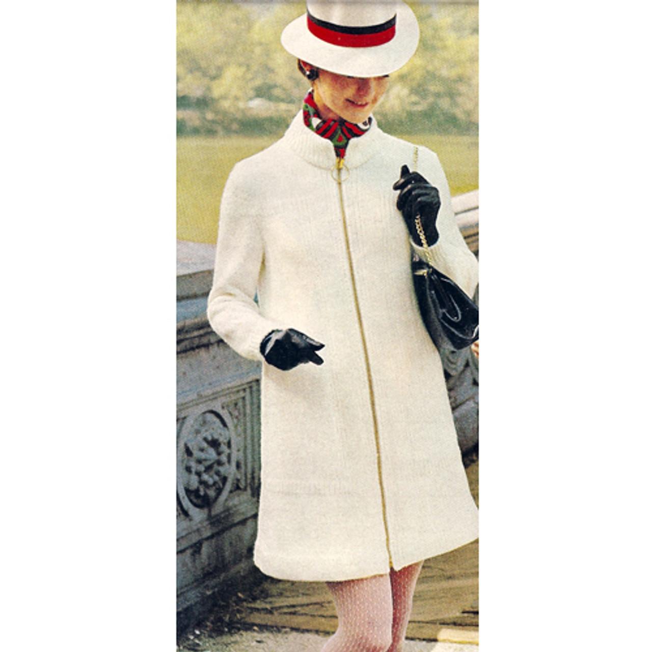 Vintage Knitting Pattern Zipper Coat