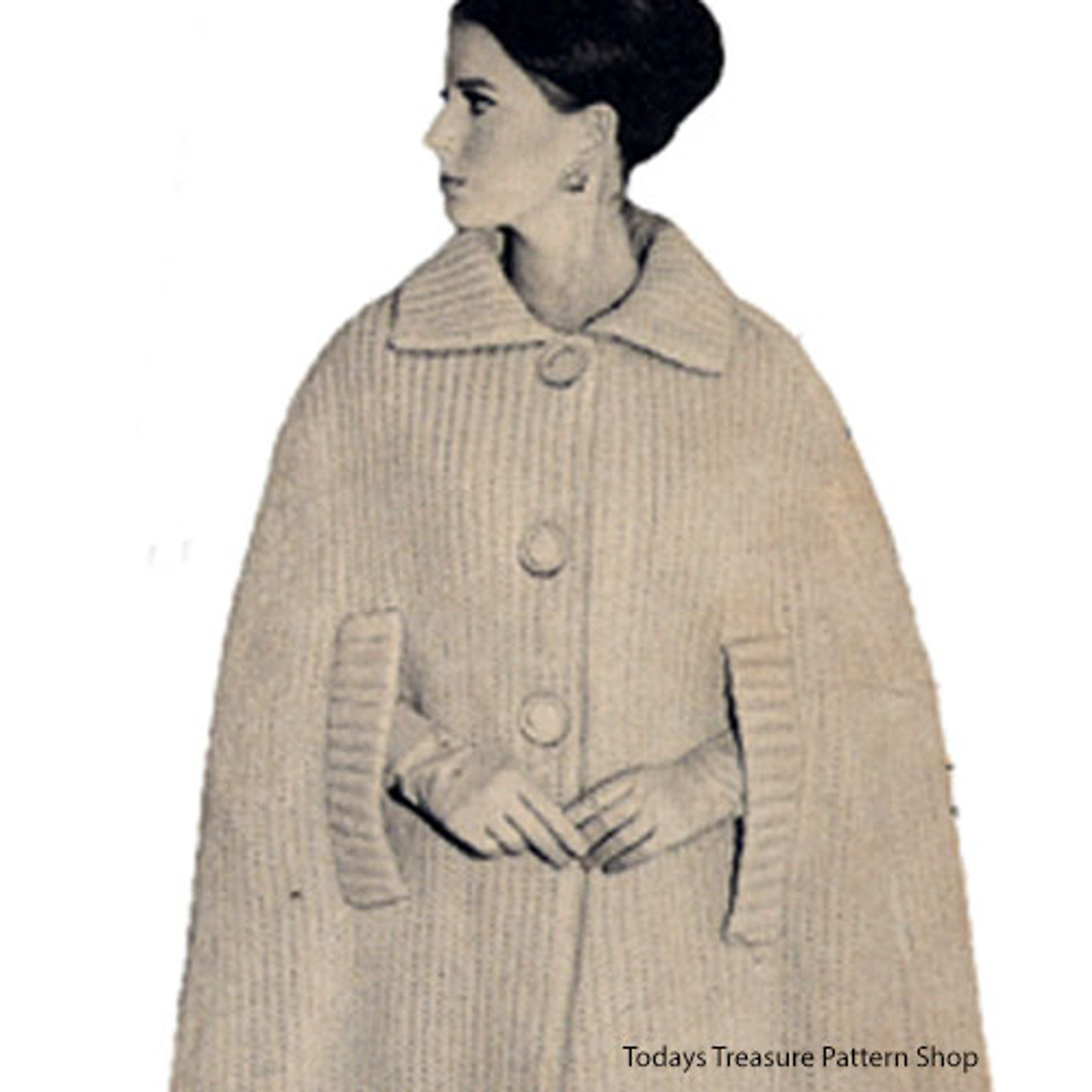 Collared Cape Knitting Pattern, Knee Length