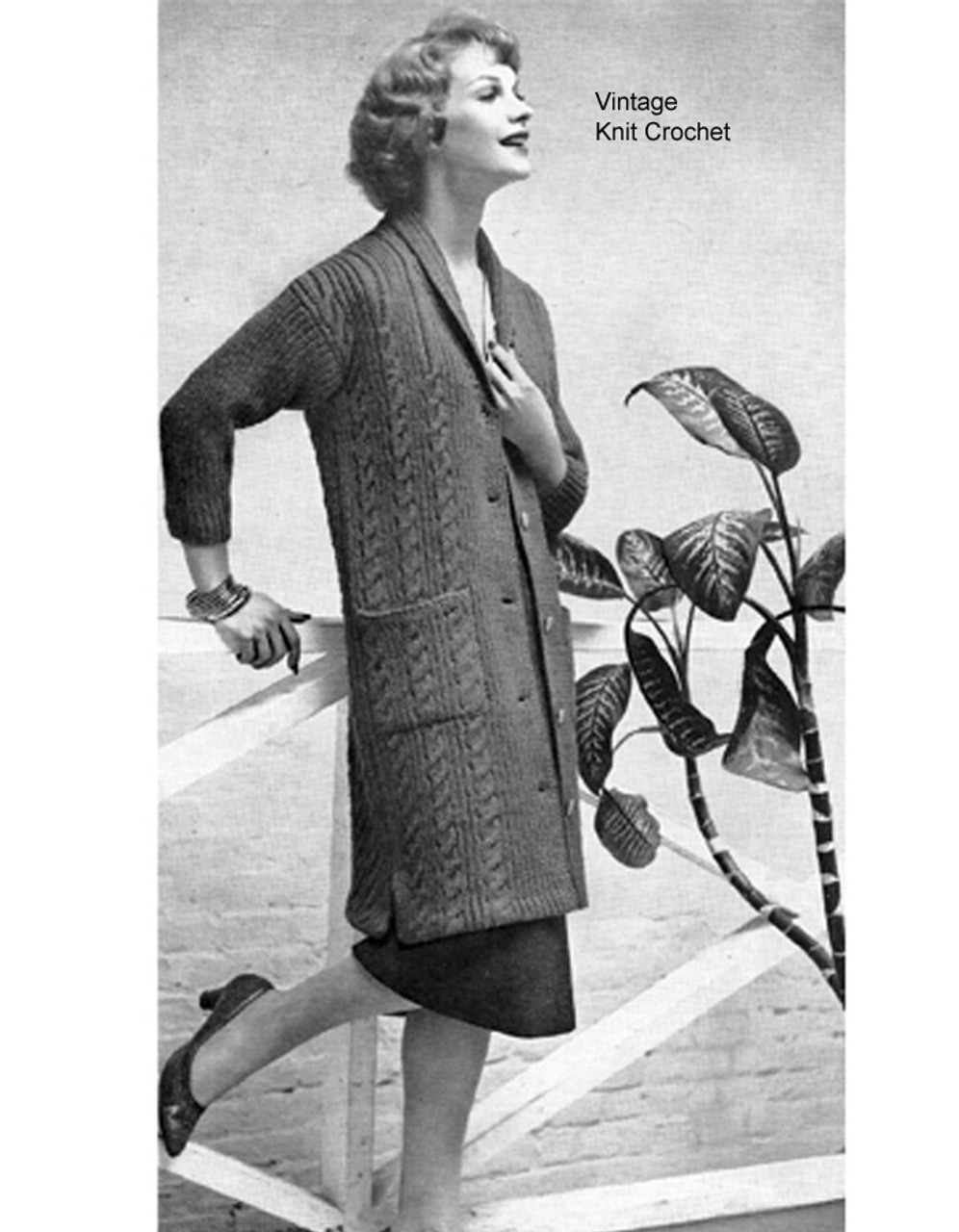Long Cable Coat Knitting Pattern