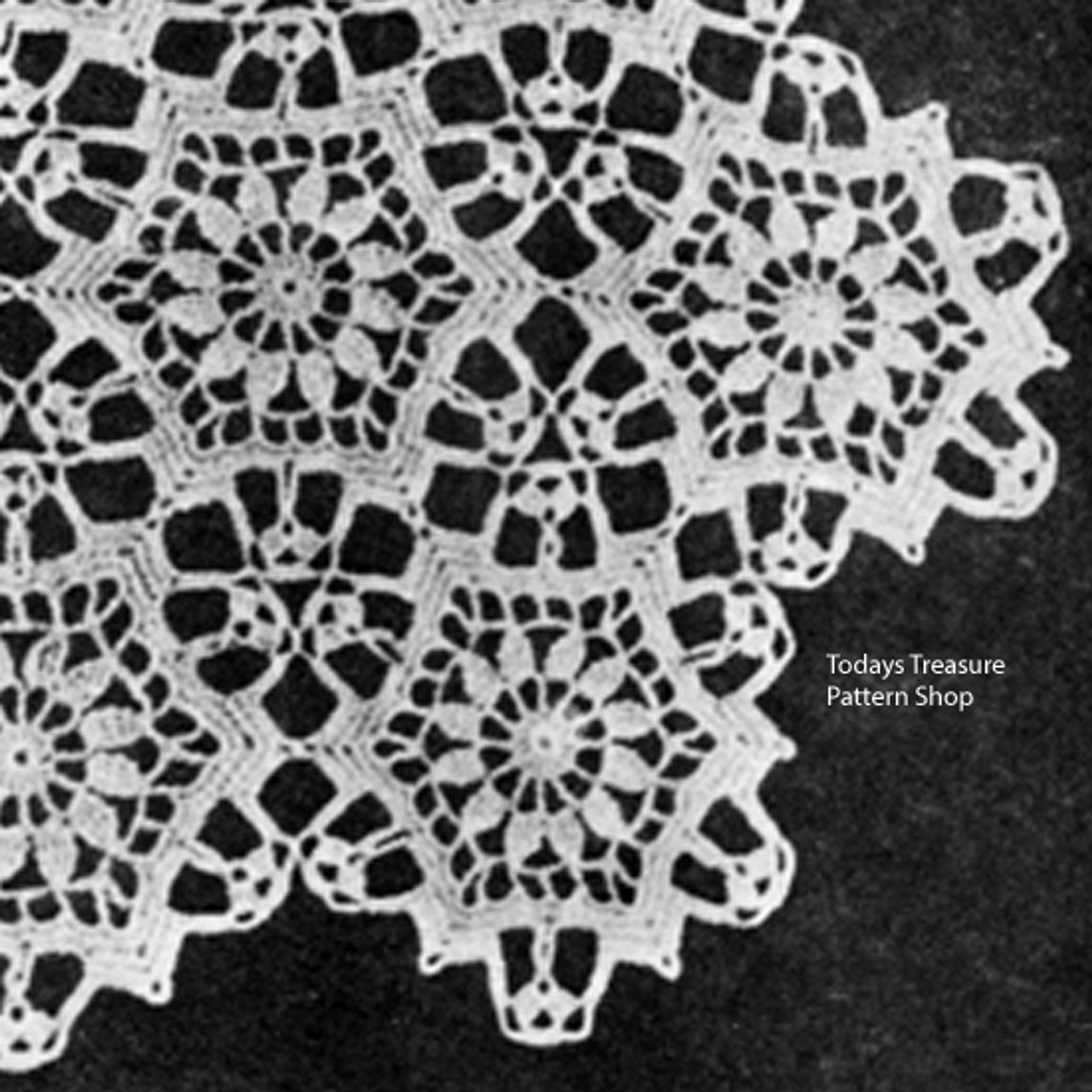 Vintage Dainty Flower Medallion pattern for Scarves and Runners