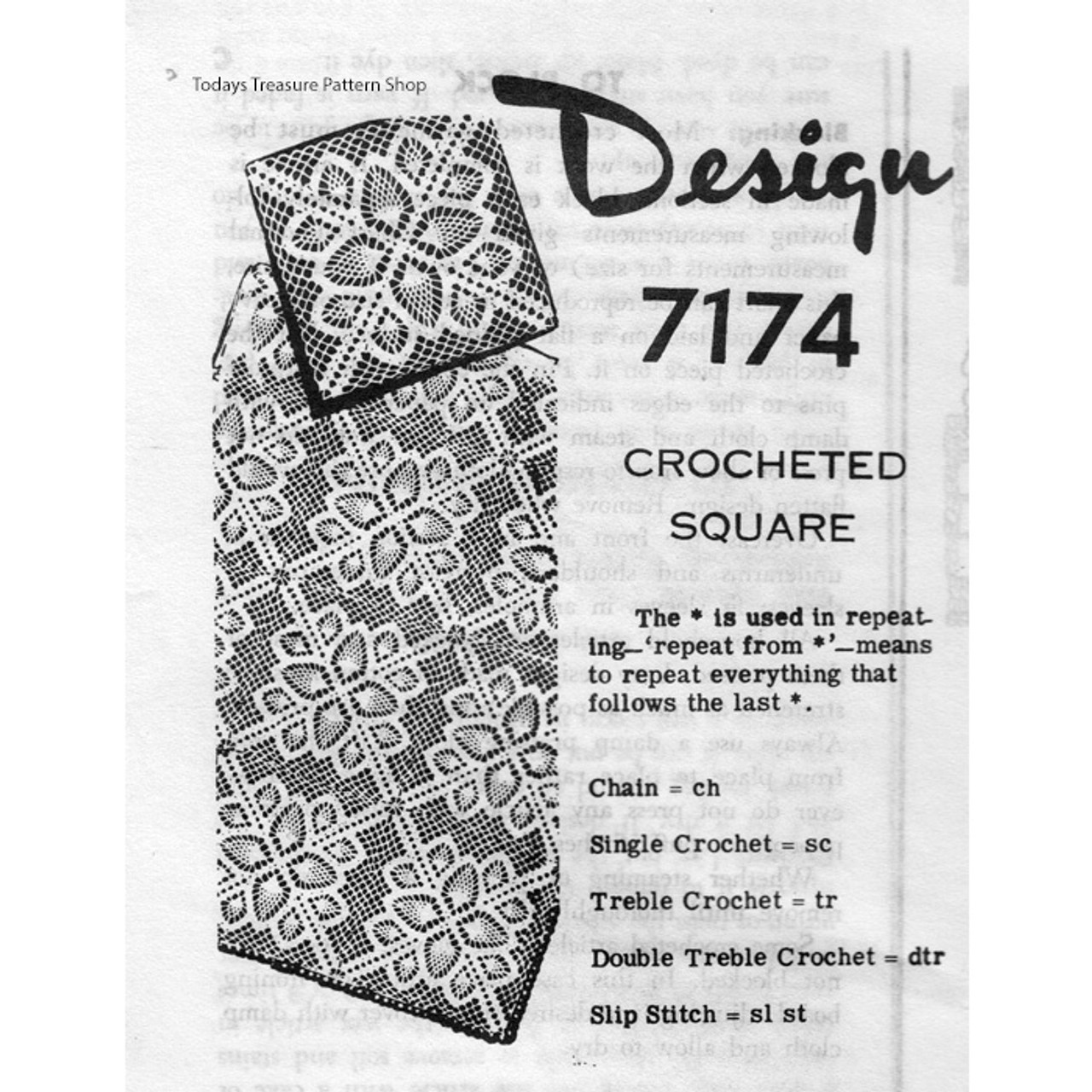 Alice Brooks 7174, Crochet Pineapple Square Pattern