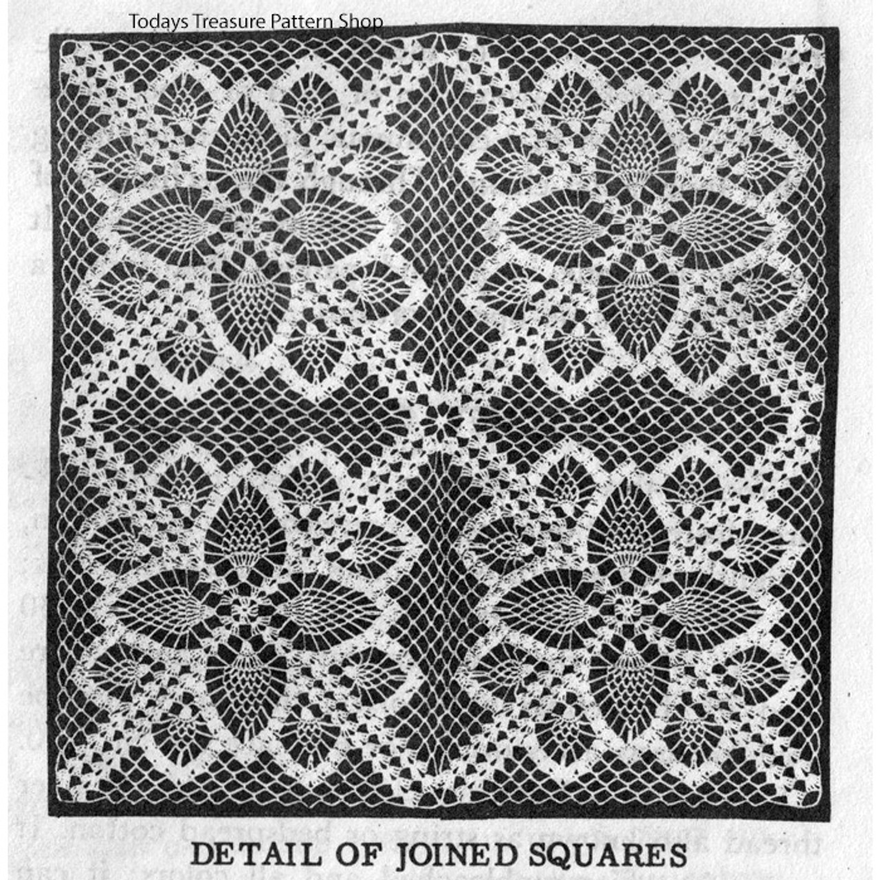 Joined Pineapple Crochet Squares Pattern, Design 7174