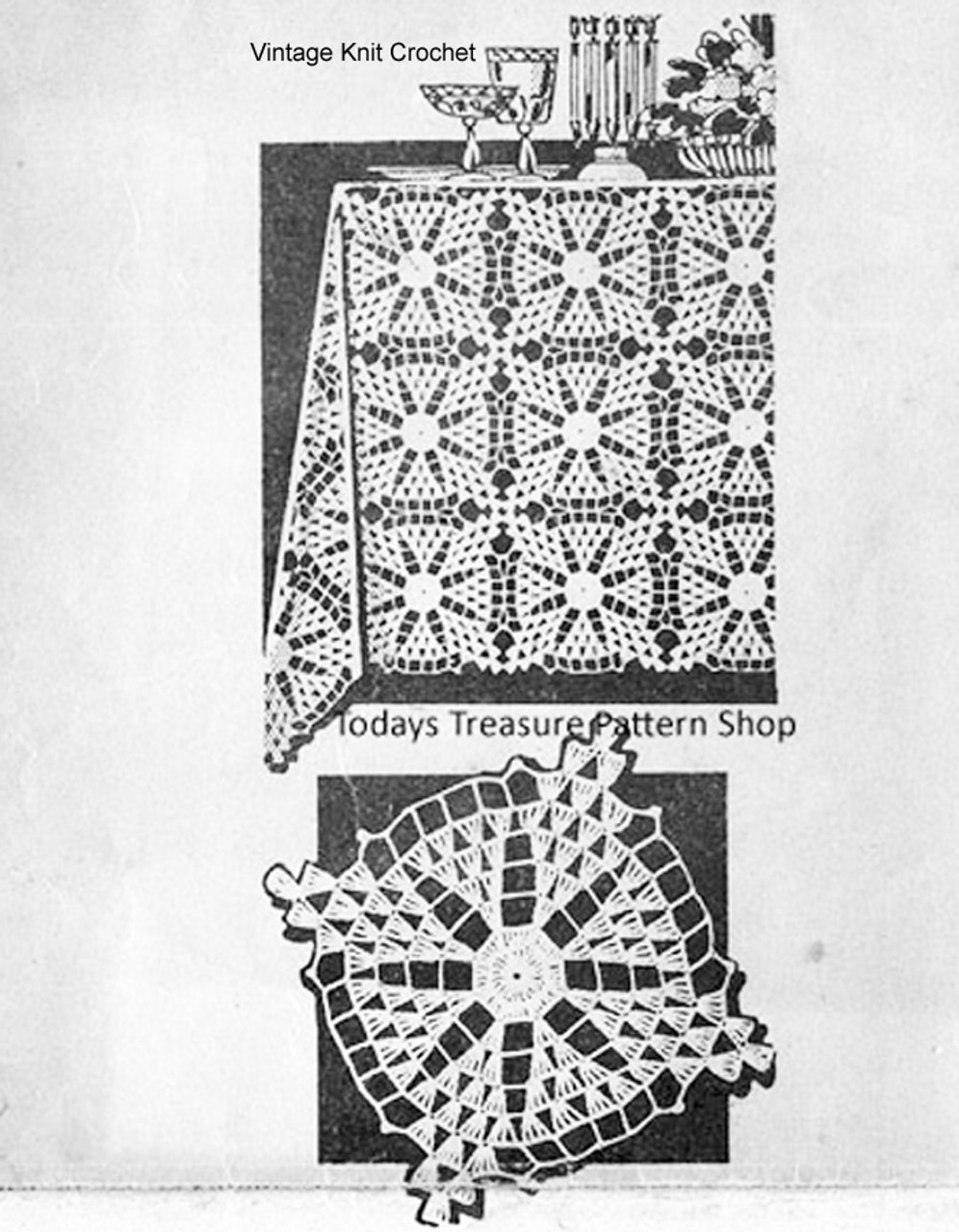 Mail Order Crochet Tablecloth Pattern, Square Medallions, Design 595