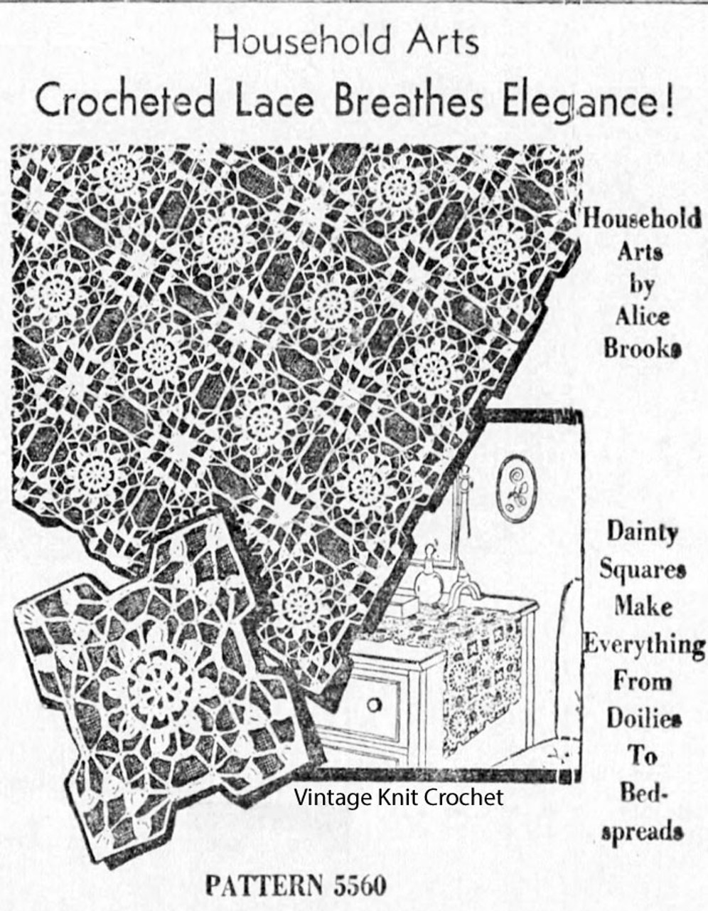 Crocheted Lace Medallion Tablecloth Pattern, Alice Brooks 5560