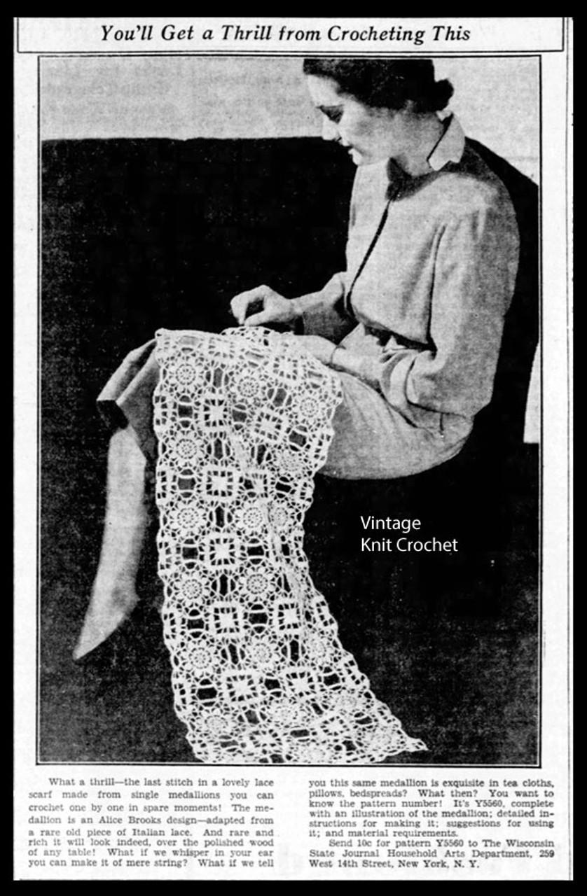 Crocheted Square Medallion Pattern Alice Brooks Design 5560