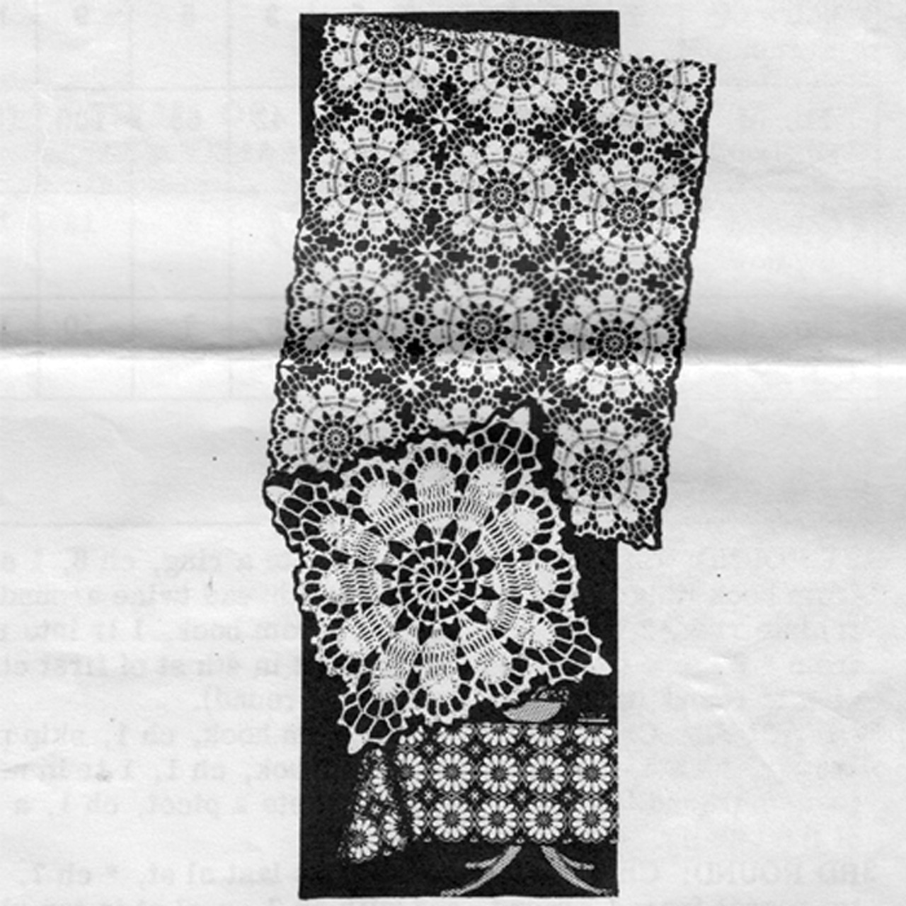 Crochet Flower Square Tablecloth pattern Design 7215
