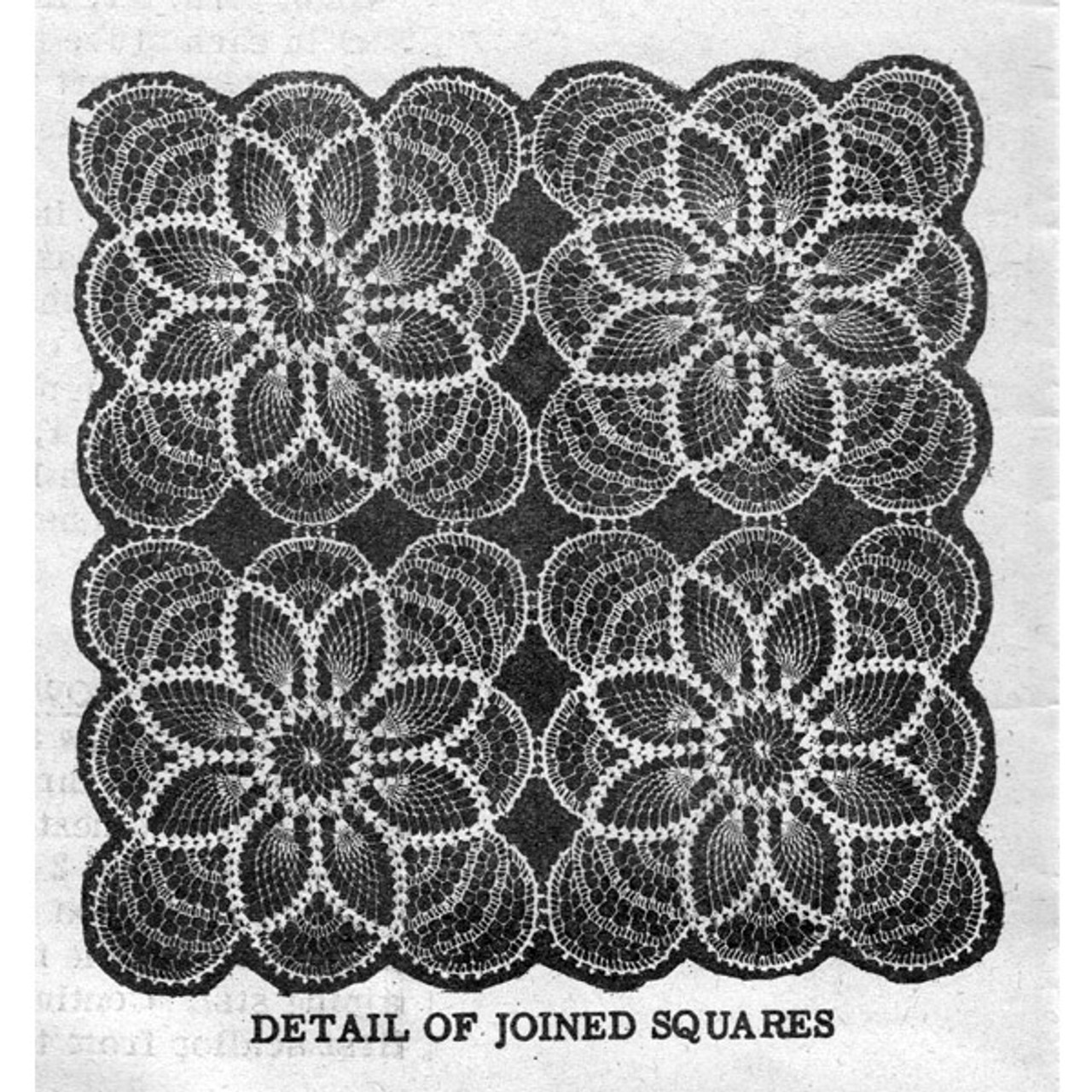 Joined Pineapple Crochet Squares Pattern