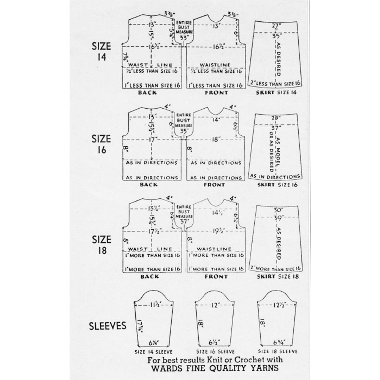 Knitting Pattern Size Adjustments