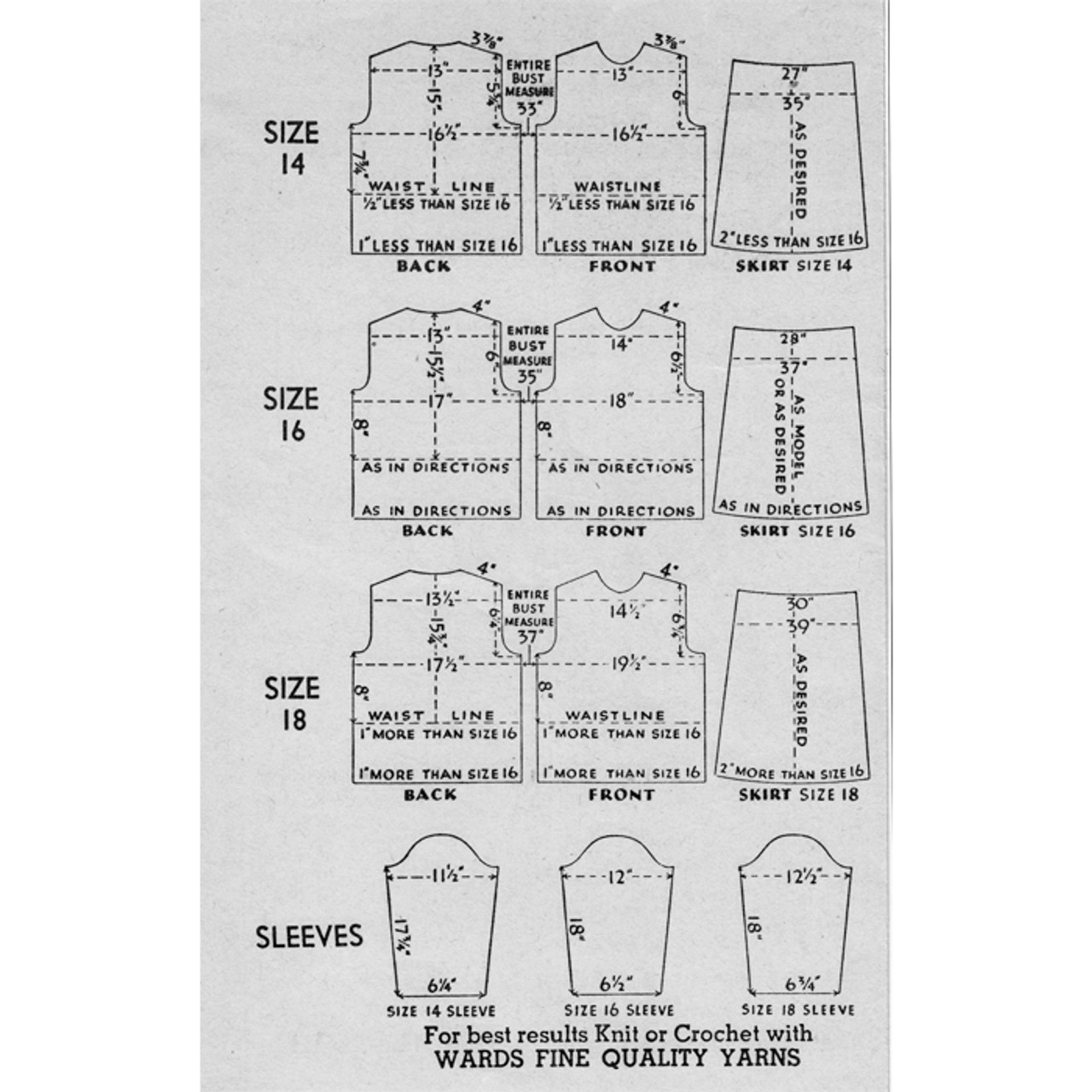 Vintage Knitting Adjustment Charts for Womens Garments