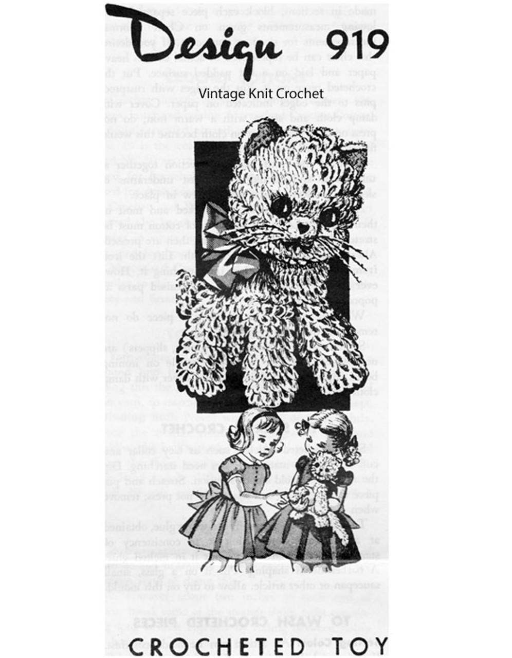 Crochet Stuffed Animal Pattern, Kitten, Mail Order Design 919