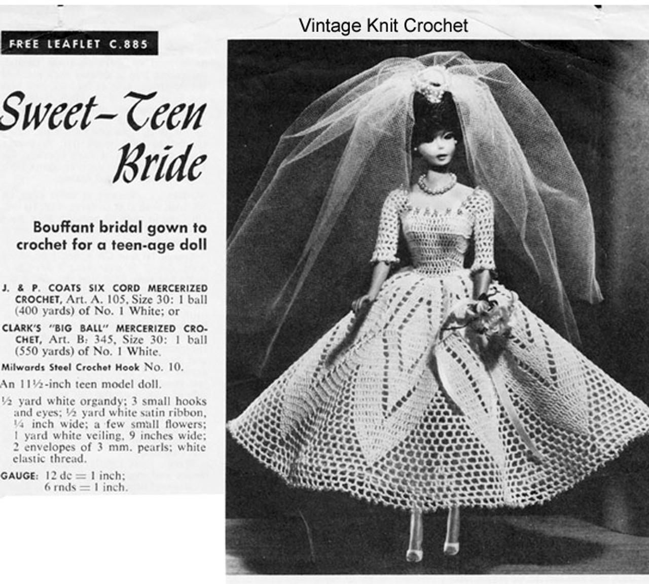 Crochet Fashion Doll Bride Dress Pattern Leaflet C-885