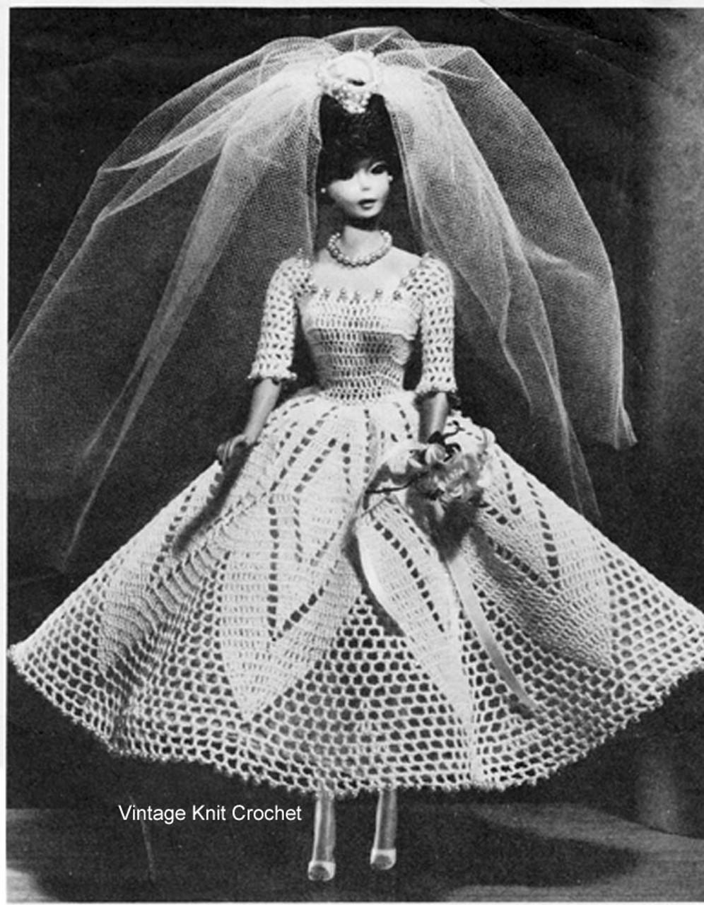 Crochet Fashion Doll Bride Dress Pattern, Vintage 1950s
