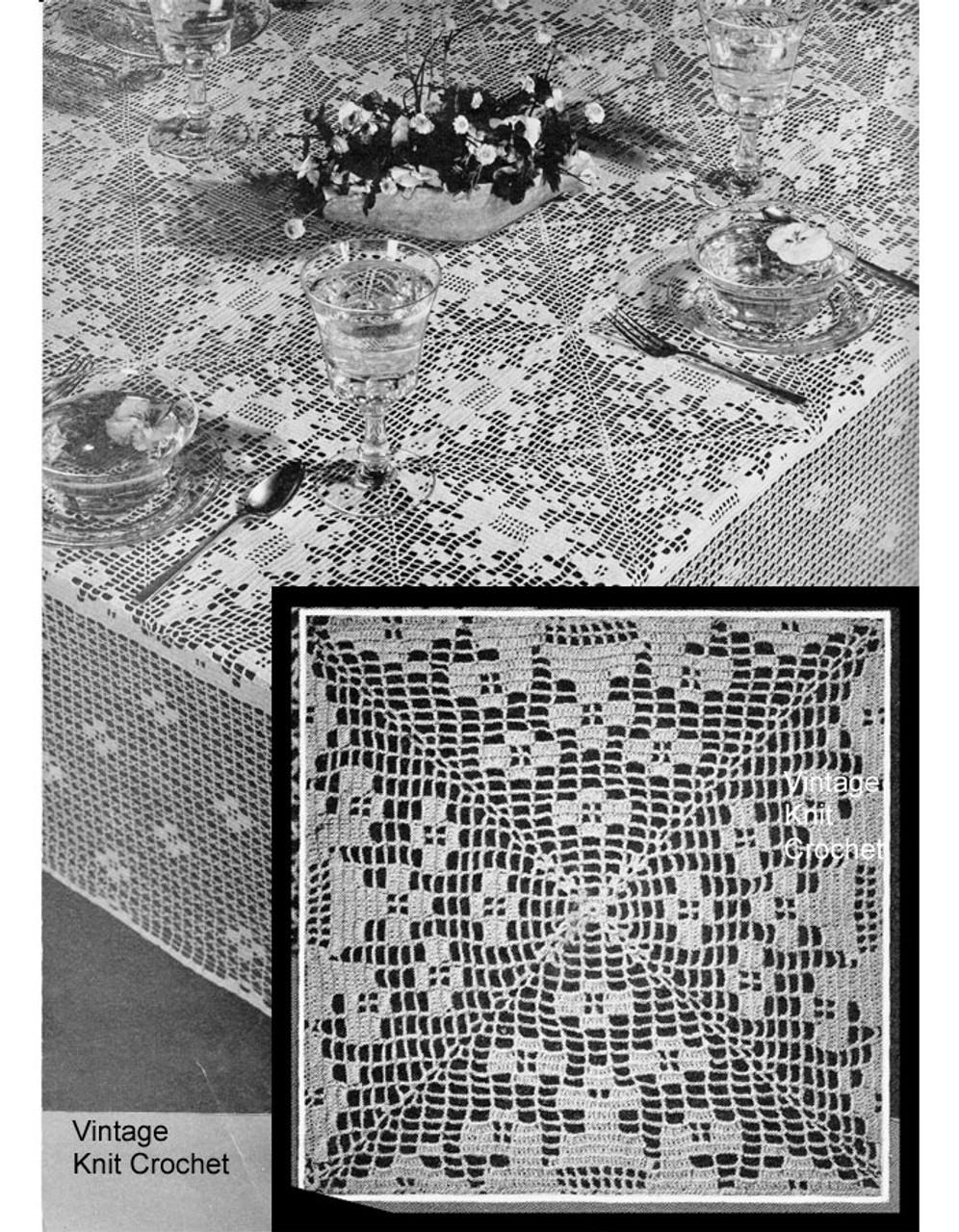 Vintage Filet Crochet Tablecloth Pattern