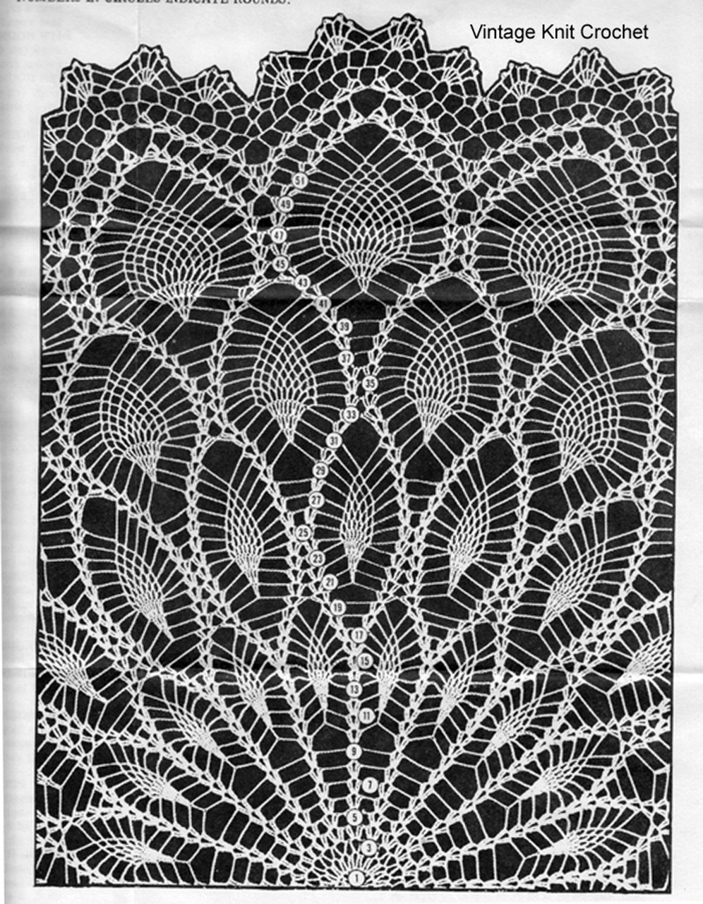 Pineapple Pattern Stitch Illustration, Crocheted Cloth, Design 957