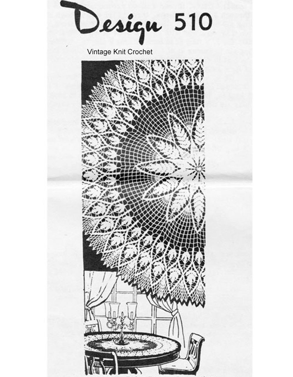 Round crochet tablecloth pattern in Fern Motif, Design 510