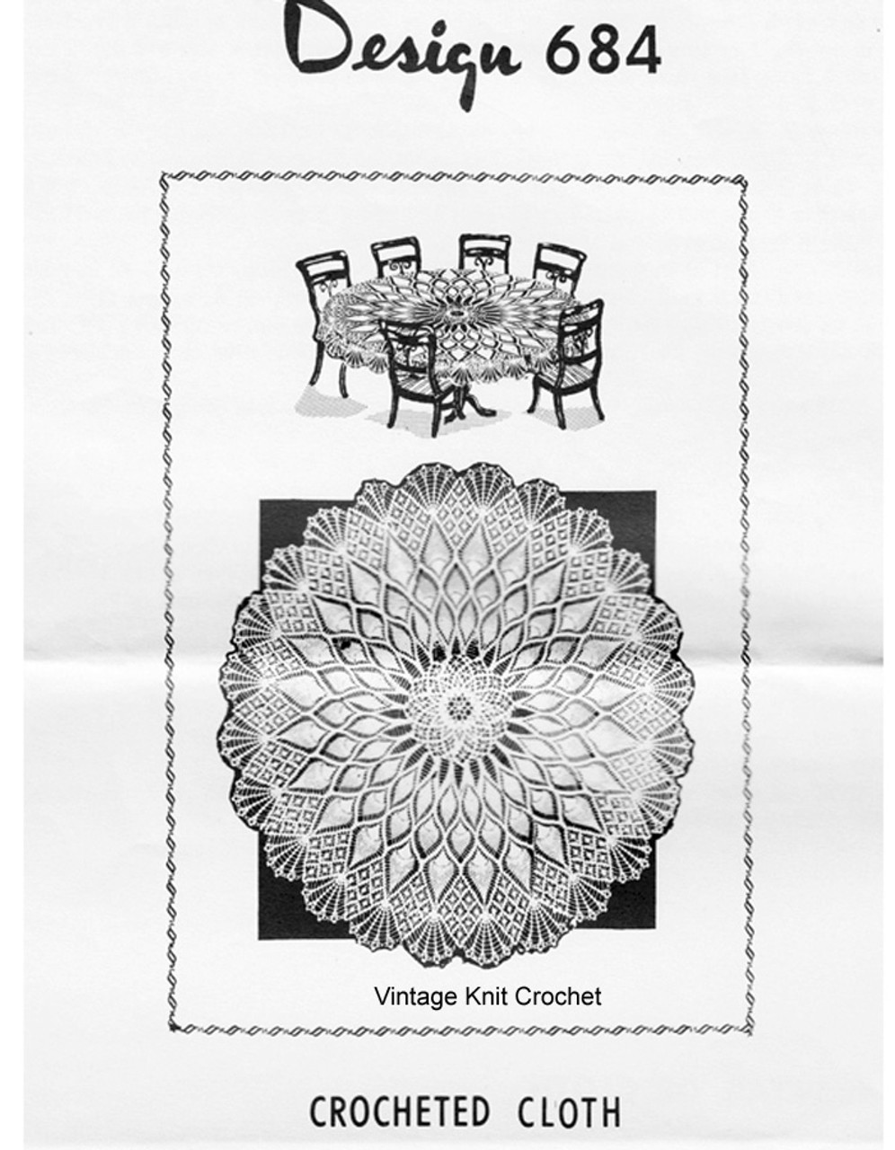 Round Crochet Cloth Pattern, Pineapple, Mail Order 684