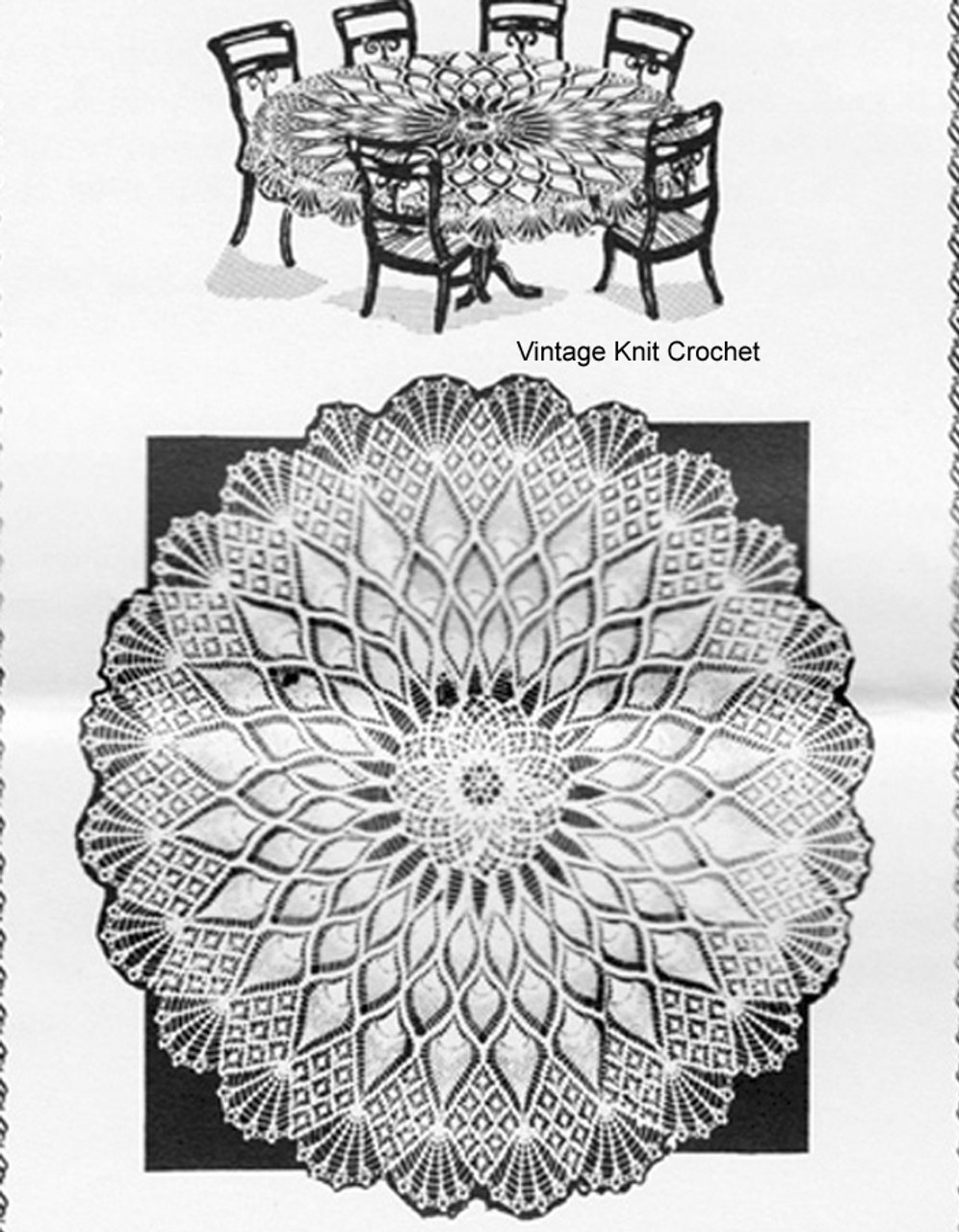 Large Round Pineapple Crochet Tablecloth Pattern Design 684
