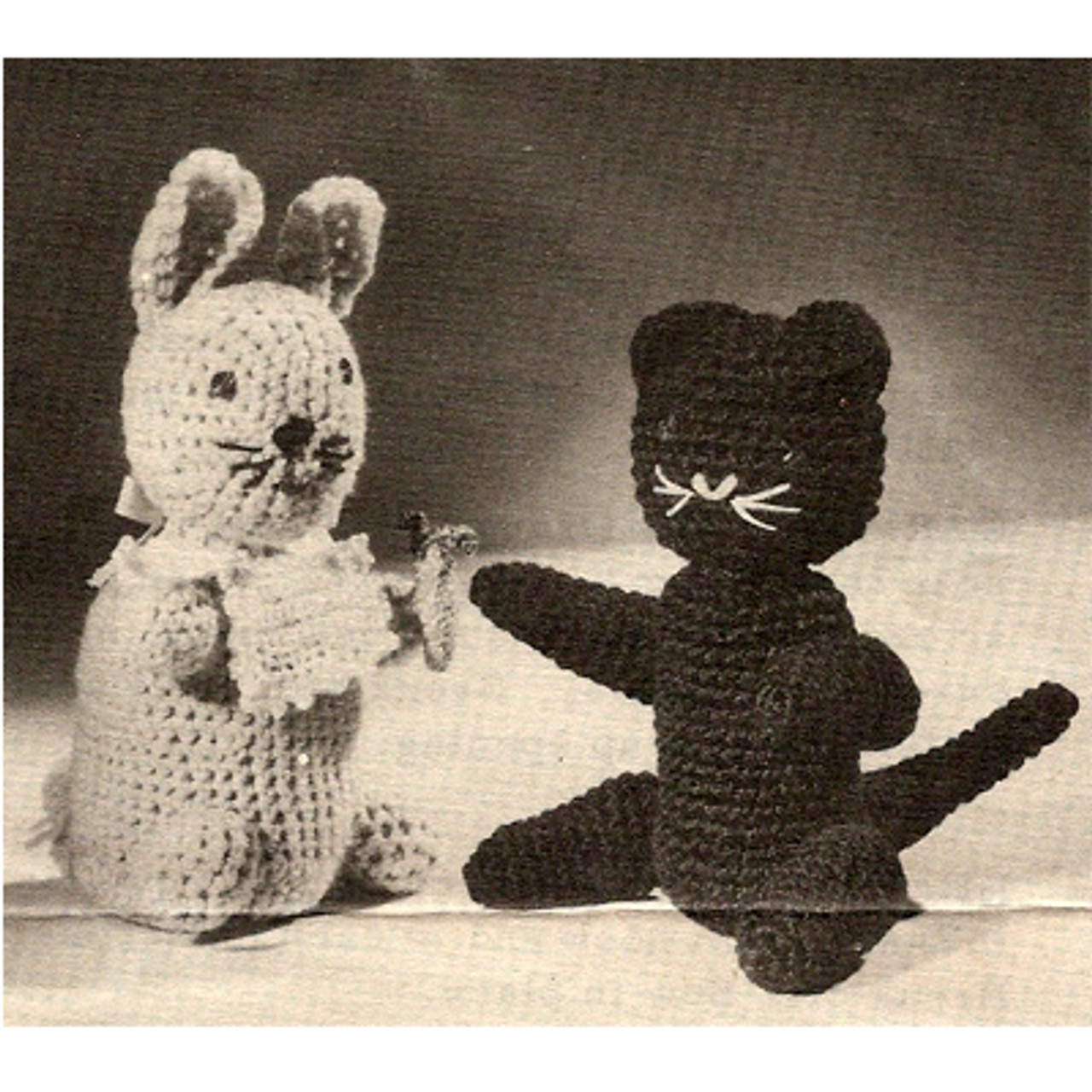 Crocheted Bunny and Black Cat Pattern