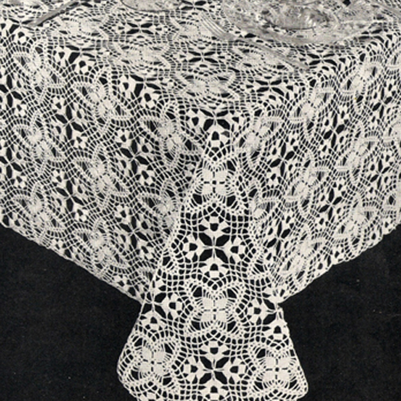 Crocheted Tablecloth Pattern, Lady Bountiful Medallions